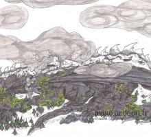 dessin d'un dragon se confondant en montagne