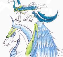 dessin d'une licorne ailée