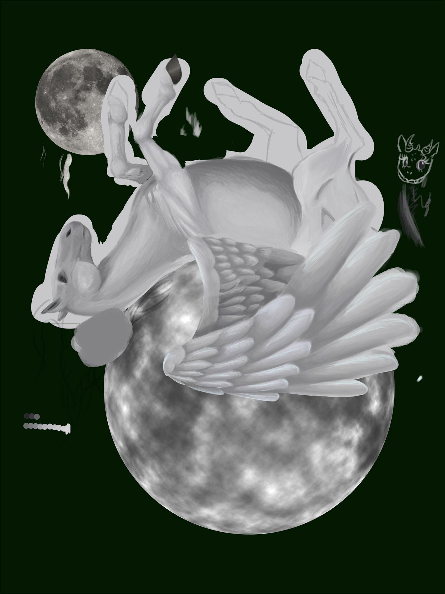 dessin d'un pégase sur la lune