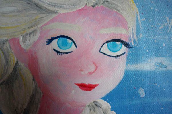 Peinture de la Reine des neiges : zoom