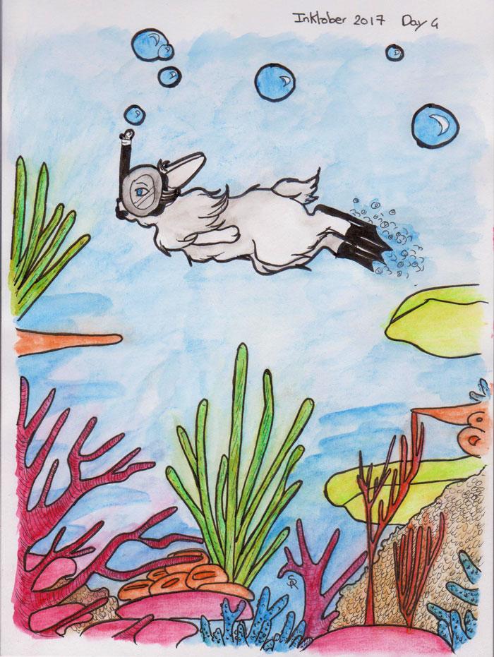 dessin d'un lapin faisant de la plongée